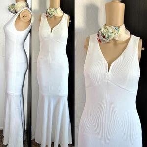 Textured Sheath Flowy Long Dress NWT